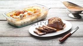 Ψητό της κατσαρόλας και πατάτες παπρικάζ ογκρατέν