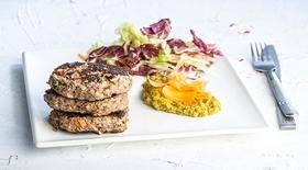 Μπιφτέκια super food με λαχανικά και πουρέ λαχανικών